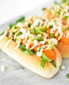 Lighter Buffalo Chicken Hot Dogs