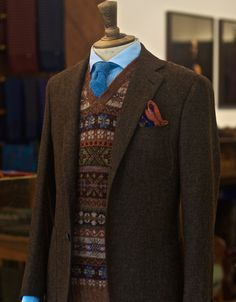 """drakes-london: """" Brown Wool Jacket Fairisle Sleeveless Pullover Blue Wool Tie Wool/Silk Elephant Print Pocket Square All items available at Clifford St """" Tweed Run, Tweed Coat, Harris Tweed Jacket, Ivy League Style, Gents Fashion, Country Fashion, Gentleman Style, Dapper Gentleman, Well Dressed Men"""