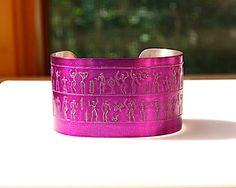 Fabulous Hieroglyphics Cuff Bracelet Etched Pewter by Joann Hayssen Designs SRA  $40.00 https://www.etsy.com/listing/200949978/hieroglyphics-cuff-bracelet-etched?ref=shop_home_active_2
