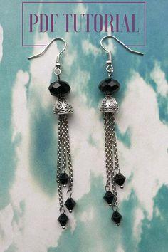 Earrings tutorials Black chain earrings PDF earrings Earring