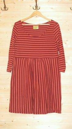 GUDRUN SJODEN STRETCH TUNIC DRESS SIZE L ORGANIC COTTON STRIPED EUC…