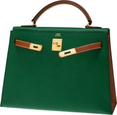 Luxury Accessories:Bags, Hermes Special Order 32cm Vert Clair & Gold Bi-Color CourchevelLeather Sellier Kelly Bag with Gold Hardware. ... Image #2