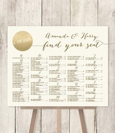 Alphabetical Seating Chart Sign DIY // Gold Sparkle Wedding Sign / Metallic Gold and Cream / Find Your Seat / Customized Sign ▷Printable PDF