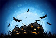 Black Pumpkin Bats Halloween Backdrop - 20(W)X10(H)FT(6X3M)