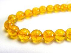 1x Strand Round Citrine Gemstone Beads  8mm by KolibriBeadSupplies