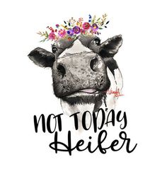 sticker Not Today Heifer Cow transfer - PRINTED vinyl sticker to put on a mug White or Transparent G