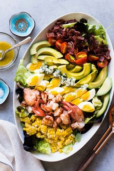 Lobster Cobb Salad - a classic with an elegant twist. Perfect for special occasions or when you want to spoil yourself with something other than an ordinary cobb salad! Lobster Dishes, Lobster Salad, Lobster Recipes, Seafood Dishes, Seafood Recipes, Seafood Meals, Seafood Salad, Cobb Salad, Coleslaw Salad