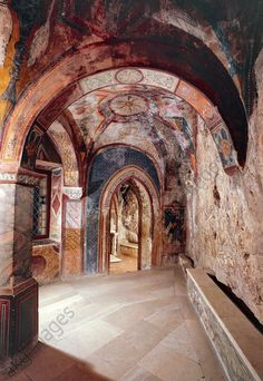 The entry hall of St Gregory's Chapel at Sacro Speco Monastery, Subiaco. Italy, 12th century.