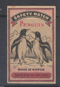 マッチ ラベル Old Matchbox Label Box Size Japan Penguin AC60 | eBay