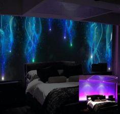 glow in the dark, luminous art bedroom mural