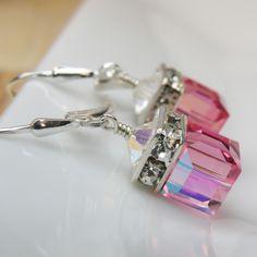 Pink Crystal Earrings, Swarovski Cube, Sterling Silver, Bridesmaid, Wedding, Handmade Jewelry, Spring Fashion, Valentine. $28.00, via Etsy.