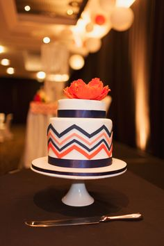 #coral and #blue chevron wedding cake