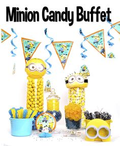 This candy buffet was inspired by those yellow faced men with funny accents....Minions!  Minions are a huge hit with adults and kids alike. Their silly language and unique voices make way for the ultimate of belly laughs.