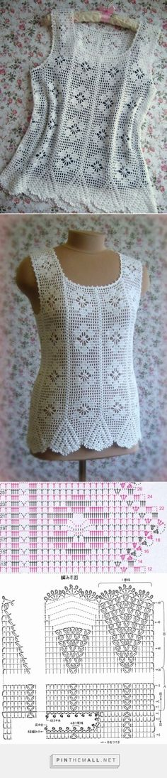 White crochet lace top. Removed the mix-up with a different model - now photos and charts are right as they should! ~~ http://www.liveinternet.ru/users/kassir-lera/post276190031/