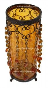 Amber glass beaded candle holder
