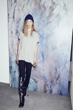 WHITE SATIN WOOL DRESS IN GREY MELANGE AND NORTH STAR ANGORA MIX BEANIE IN DRESS BLUE http://fallwinterspringsummer.com