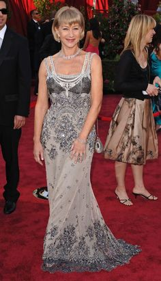 Helen Mirren in an intricate evening gown at the 2005 Academy Awards.