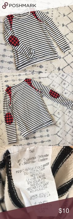 Buffalo Plaid and Striped Boutique Top - size L Buffalo Plaid and Striped Boutique Top - size L Worn once. Dottie Couture Boutique Tops