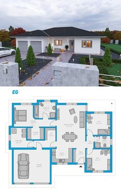 Plana 150 - schlüsselfertiges Massivhaus Plana 150 - casa sólida chave na mão # ingutenwänden bonitas Sims House Plans, House Layout Plans, Family House Plans, New House Plans, Dream House Plans, House Layouts, Small House Plans, Modern Bungalow House, Bungalow House Plans