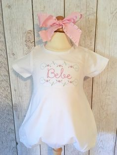 Monogrammed Bubble, Monogrammed Romper, monogrammed onesie, Baby Girl Outfit, embroidered onesie, floral embroidery, easter outfit, by JulieAnneMonograms on Etsy https://www.etsy.com/listing/265569507/monogrammed-bubble-monogrammed-romper