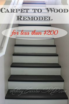 How to convert your carpeted stairs to wood for under $200.  We had several of the tools already (and borrowed what we didn't) so our cost was