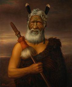 Eruera Maihi Patuone oil on canvas - Māori Portraits by Gottfried Lindauer Maori Face Tattoo, Ta Moko Tattoo, Maori Tattoos, Borneo Tattoos, Tribal Tattoos, Auckland Art Gallery, Polynesian People, Polynesian Art, Tiki Tattoo