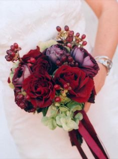 deep red and purple Would use the berries in an autumnal bouquet