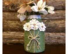 Rustic Jute Wrapped Vase Romantic Twine by AmericanaGloriana