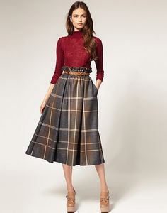 midi length checked skirt.  I would wear with different shoes