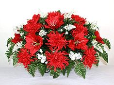 online shopping for XL Artificial Red Lilies w Spider Mums Cemetery Flower Headstone Saddle Grave Decoration from top store. See new offer for XL Artificial Red Lilies w Spider Mums Cemetery Flower Headstone Saddle Grave Decoration Lavender Flowers, Real Flowers, Paper Flowers, Cemetery Decorations, Spider Mums, Cemetery Flowers, Cemetery Vases, Red Lily, Hot Pink Roses