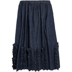 Comme des Garçons GIRL Ruffled washed-denim skirt ($450) ❤ liked on Polyvore featuring skirts, dark blue, blue denim skirt, ruffle skirt, flouncy skirt, knee length denim skirt and blue ruffle skirt