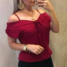 5 Color Women's Fashion New Arrival Summer Fashion Plus Size Elegant Casual Strapless Spaghetti Strap Asymmetrical Neck Short Sleeve Solid Color Slim Fit Pullover Chiffon Blouse Tunic Tops Xl Fashion, Look Fashion, Plus Size Fashion, Long Sleeve Evening Gowns, Indian Fashion Trends, Moda Chic, Short Tops, Long Blouse, Trendy Tops