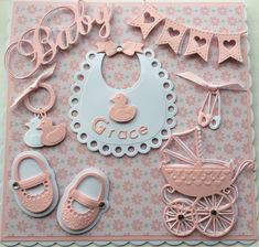 Baby Girl card by Sospecial Cards using Marianne Dies, Bib, shoes and pram. Baby Shower Labels, Baby Shower Niño, Baby Shower Princess, Baby Shower Cards, Creative Birthday Cards, Handmade Birthday Cards, Baby Girl Cards, New Baby Cards, Moldes Para Baby Shower