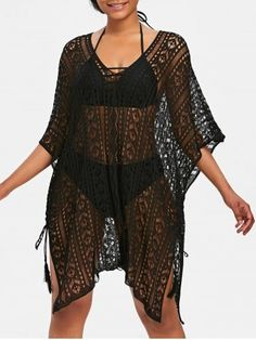 1576f9ea53 Shop for Black One Size Asymmetric Knit Beach Cover Up online at  18.99 and  discover fashion