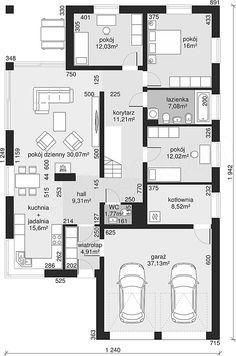 Rzut parteru projektu Dom przy Pastelowej 5 Bungalow House Design, Small House Design, Dream House Plans, House Floor Plans, Building Design, Building A House, Single Storey House Plans, Tiny Apartments, Future House