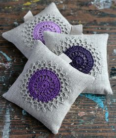 Lavender sachets crochet motif set of 3 by namolio on Etsy, or bigger for pillows Crochet Sachet, Crochet Pincushion, Crochet Cushions, Crochet Pillow, Crochet Gifts, Crochet Home, Love Crochet, Crochet Motif, Crochet Doilies