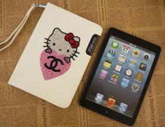 Swarovski Crystal Hello Kitty Leather iPad Mini Case with 360 Degrees Rotating Stand - White