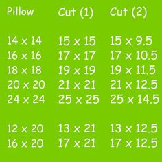 Pillow tutorial that gives cut sizes for various size pillows. It makes it easy to fit any pillow form.