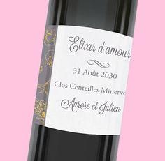 Étiquette de bouteille mariage qui apportera une touche de raffinement lors de votre repas de noce, réf.N300818