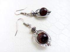 Red tiger's eye gemstones earrings,by MercysFancy on Etsy