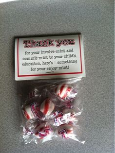 Thank you gift for parents on open house night.