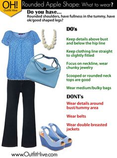 Outfit Idea/ Tips for The Rounded Apple Body Shape.  www.OutfitHive.com