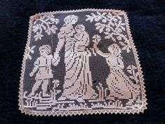 ♦❃ Antique French #lace #doily #table cloth w madonna and child handmade fil... http://etsy.me/2gPjq9w