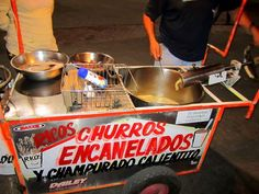 Churro cart on the malecon. Finger Food Appetizers, Finger Foods, Appetizer Recipes, Churros, Food Truck Business, Takoyaki, Food Stall, Organic Matter, Canapes