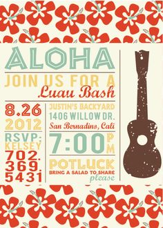 Vintage Hawaiian Luau Invitations