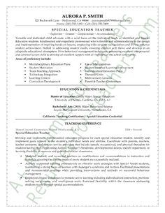 special education resume examples Education Teacher Resume Sample - Page 1 Teaching Resume Examples, Teaching Jobs, Student Teaching, College Teaching, Resume Objective Examples, Teacher Assistant, Special Education Teacher, School Teacher, Training