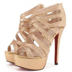 I love shoes! I love wearing them, buying them, and just looking at them. These Shoes Are Sexy Metallic Gold Strappy High Heel Pumps High Heel Pumps, Gold Strappy High Heels, Gold Sandals, Black High Heels, Pumps Heels, Stiletto Heels, Sexy Heels, Platform Pumps, Gold Pumps