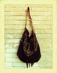 Chocolate suede fringe hobo from The Double D Ranch in Yoakum, Texas.