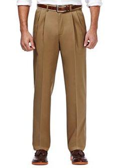 Haggar Khaki Premium Stretch No Iron Khaki Classic Fit Pleated Pants