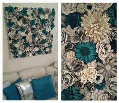 """I used fake flowers and paint them with spraypaint and also by hand. After that i glued them onto canvasboard with hotglue."""